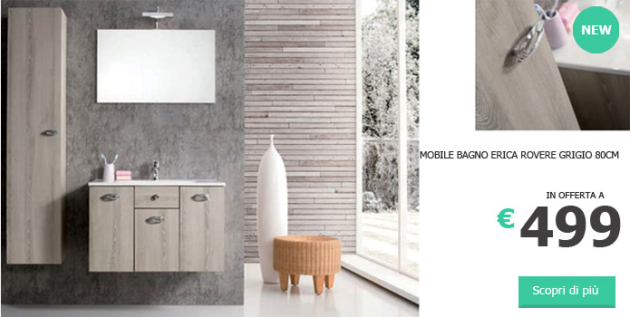 mobile bagno sospeso bianco lucido 105 cm nuovo arredamento ...